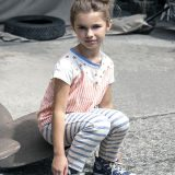 BLUNE パリの子供服マリンボーダーサルエルパンツ(161